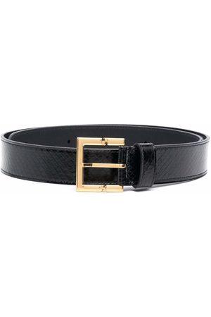Saint Laurent Snakeskin-embossed leather belt