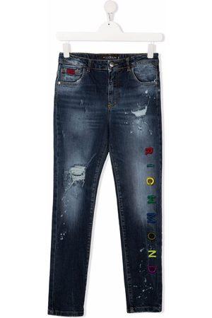 John Richmond Junior Slim - TEEN embroidered logo slim-fit jeans