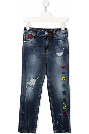 John Richmond Junior Embroidered logo slim-fit jeans