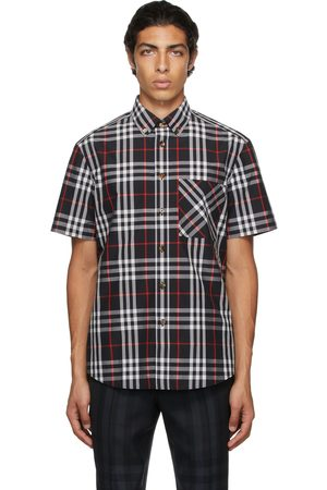 Burberry Men Short sleeves - Black Poplin Check Short Sleeve Shirt