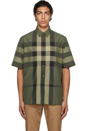 Burberry Men Short sleeves - Green Cotton Check Short Sleeve Shirt
