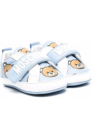 Moschino Kids Teddy Bear-print leather trainers