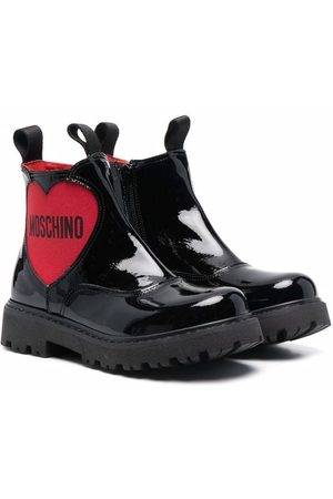 Moschino Kids Logo-heart leather boots
