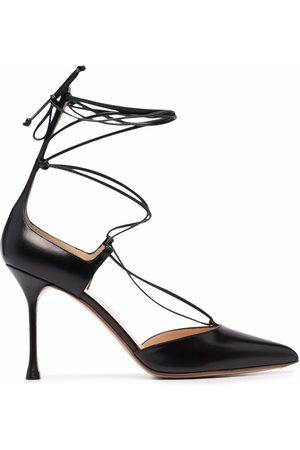 Francesco Russo Criss-cross leather pumps
