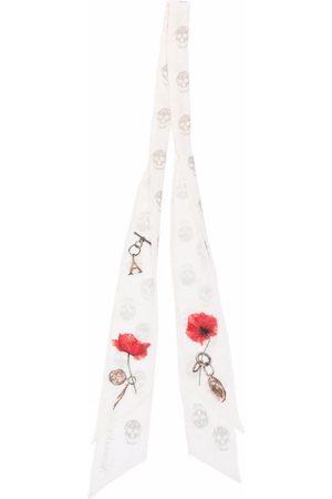 Alexander McQueen Women Scarves - Skull-print skinny scarf