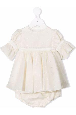 La Stupenderia Polka-dot embroidered dress - Neutrals