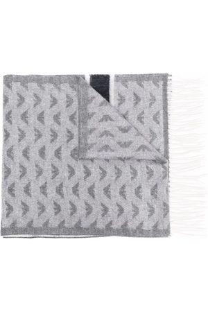 Emporio Armani Logo-knit fringed scarf - Grey