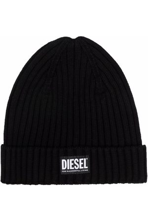 Diesel Kids TEEN logo-patch knitted beanie