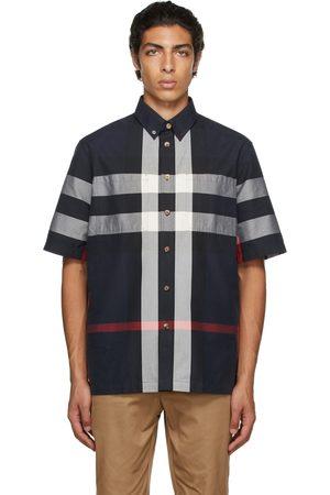 Burberry Navy Cotton Check Short Sleeve Shirt