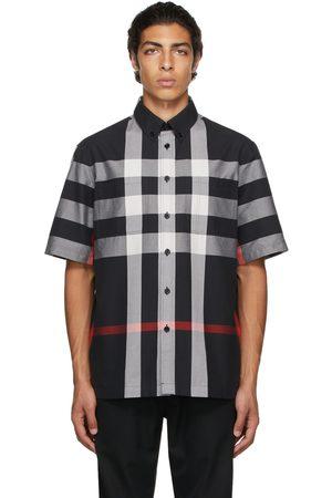 Burberry Men Short sleeves - Black Cotton Check Short Sleeve Shirt