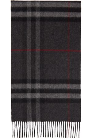 Burberry Men Scarves - Grey Cashmere Classic Check Scarf