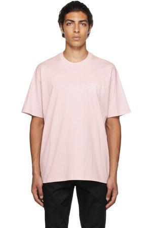Burberry Men T-shirts - Pink Oversized Location Print T-Shirt