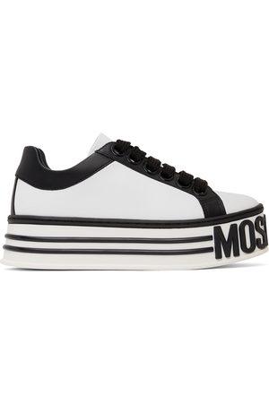 Moschino Women Platform Sneakers - White & Black Leather Logo Platform Sneakers