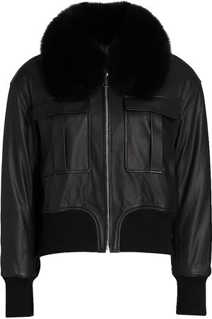 The Fur Salon Leather Fox Fur Collar Jacket