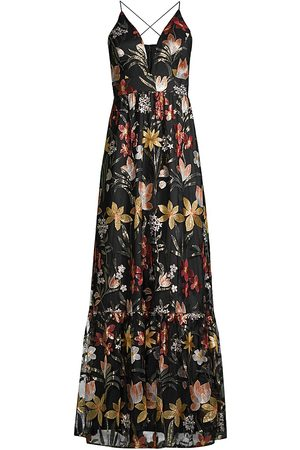 Aidan Mattox Embroidered Plunging V-Neck Gown