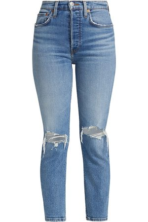 RE/DONE High-Rise Distressed Ankle Jeans