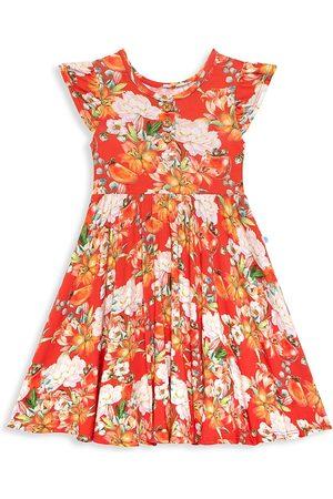 Posh Peanut Little Girl's & Girl's Paulina Ruffled Floral-Print Henley Dress
