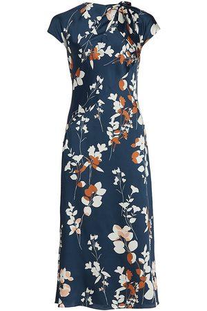 Ml Monique Lhuillier Floral Satin Midi-Dress