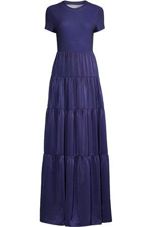Aidan Mattox Charmeuse Cutut-Back Gown