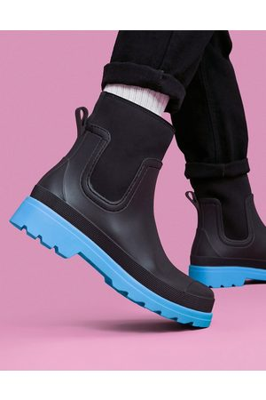 ASOS Ankle length wellington boot in with contrast sole
