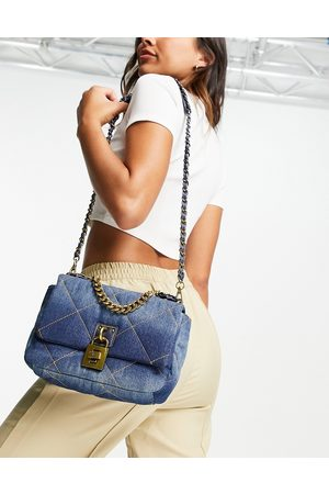 Steve Madden BTorie quilted cross body with chain in denim-Blues