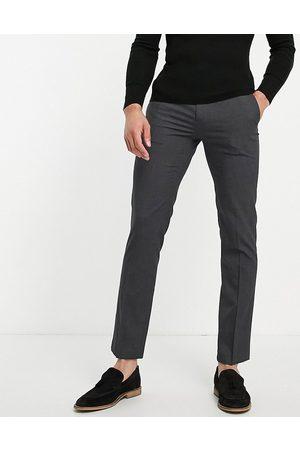 River Island Slim smart pants in dark gray-Navy