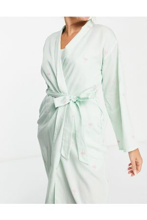 Y.A.S Exclusive embroidered palm tree long robe in mint