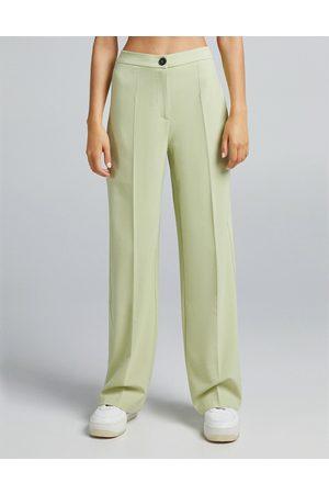 Bershka Wide leg dad tailored coordinating pants in sage