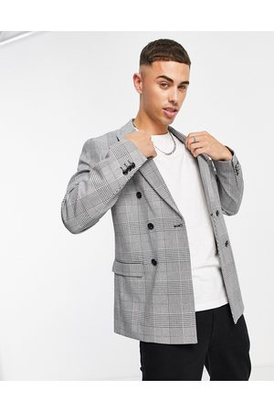 Jack & Jones Premium relaxed fit double breasted suit jacket in heritage plaid