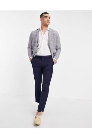 Selected Homme Slim fit linen blend suit jacket in blue-Blues