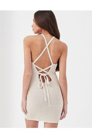 4th & Reckless Everly crochet tie back beach mini dress set in stone-Neutral