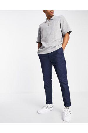 SELECTED Nylon pant in slim tapered navy