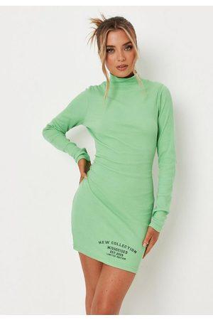 Missguided Rib High Neck Mini Dress