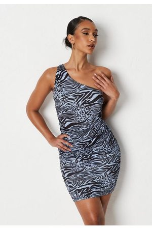 Missguided Animal Print One Shoulder Ruched Mini Dress