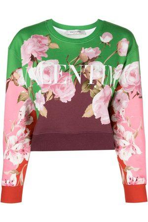 Valentino Floral Logo-Print Cropped Sweatshirt