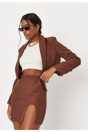 Missguided Chocolate Co Ord Tailored Cut Out Mini Skirt
