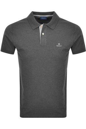 GANT Men Polo Shirts - Contrast Collar Rugger Polo T Shirt Grey