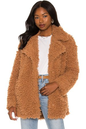 Steve Madden What's The Fuzz About Faux Fur Coat in Tan.