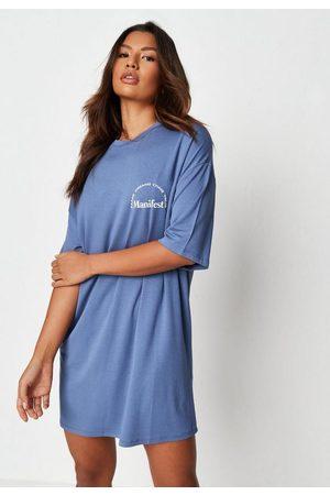 Missguided Manifest Graphic Oversized Night T Shirt Dress