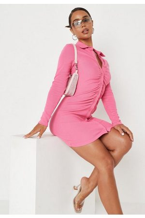 Missguided Rib Ruched Collared Mini Dress