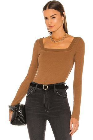 Citizens of Humanity Marisol Square Neck Tee in Brown.