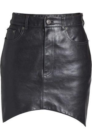 Balenciaga Leather Hourglass Mini Skirt Black