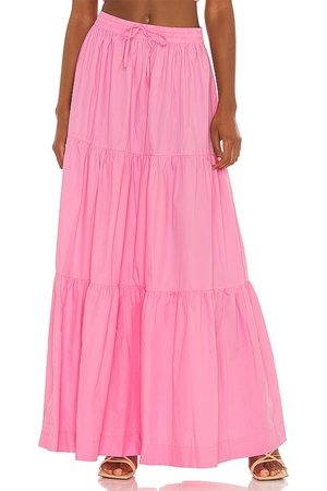 SWF Drawstring A Line Tiered Maxi Skirt in Pink.