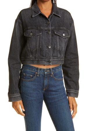 VERONICA BEARD Women's Peyton Crop Denim Trucker Jacket