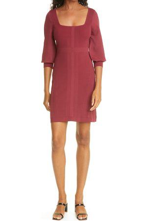 NICOLE MILLER Women's Puff Sleeve Rib Sheath Sweater Dress