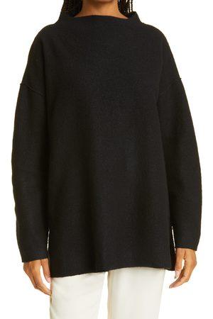 Eileen Fisher Women's Funnel Neck Boxy Boiled Wool Sweater