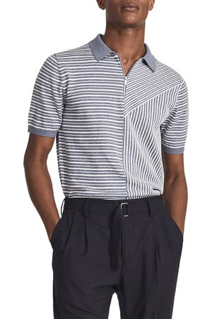 Reiss Men's Wriggle Stripe Wool & Cotton Polo Shirt