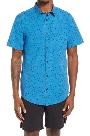 BP. Men's Sketch Dot Short Sleeve Stretch Organic Cotton Button-Up Shirt