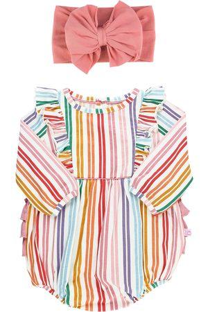 RuffleButts Infant Girl's Fairytale Rainbow Bubble Romper & Headband Set