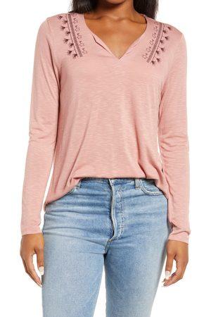 Bobeau Women's Embroidered Split Neck Long Sleeve T-Shirt